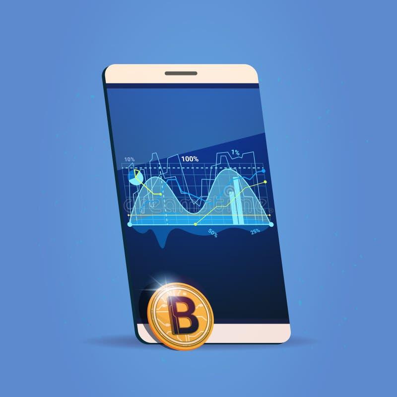 Cartas elegantes del teléfono de la célula y concepto Crypto de la moneda del dinero del web de Digitaces del icono de Bitcoin de ilustración del vector
