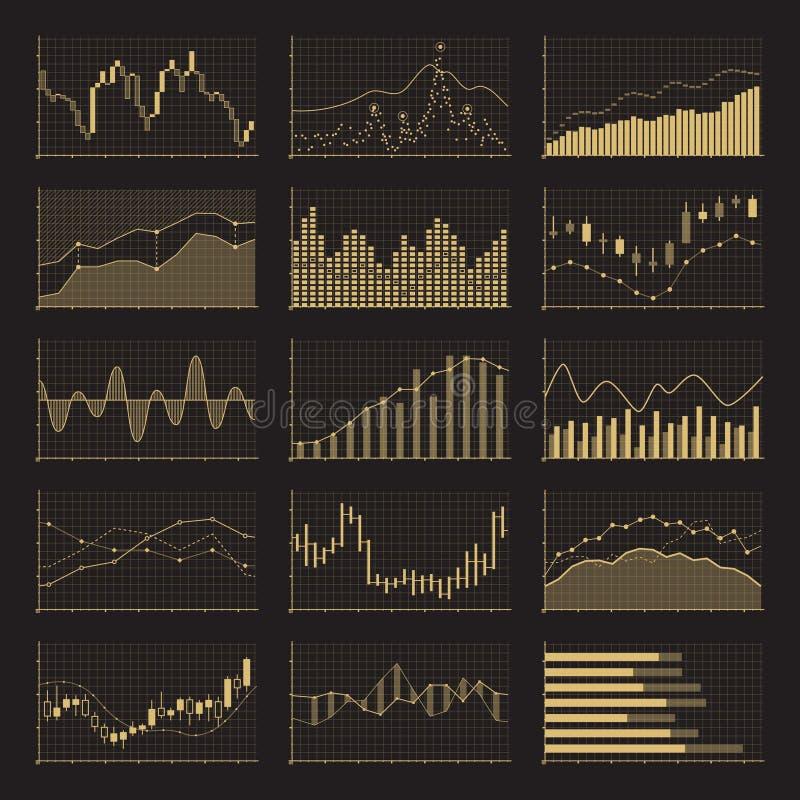 Cartas financieras de los datos de negocio Gráficos de análisis común en fondo negro stock de ilustración