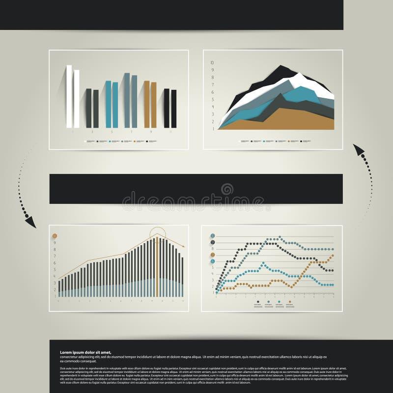 4 cartas, gráficos ilustração stock