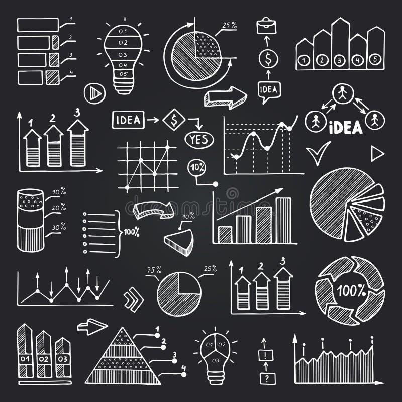 Cartas, gráficos dos dados e o outro isolado dos elementos do infographics no quadro preto Imagens do vetor ajustadas ilustração royalty free
