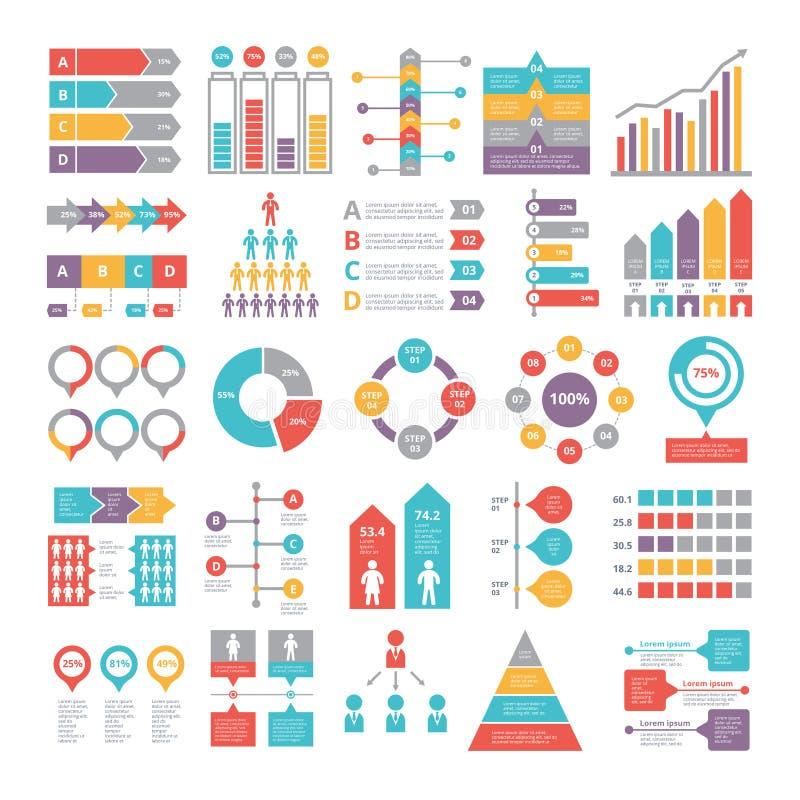 Cartas, gráficos y otros diversos elementos del infographics para el negocio stock de ilustración