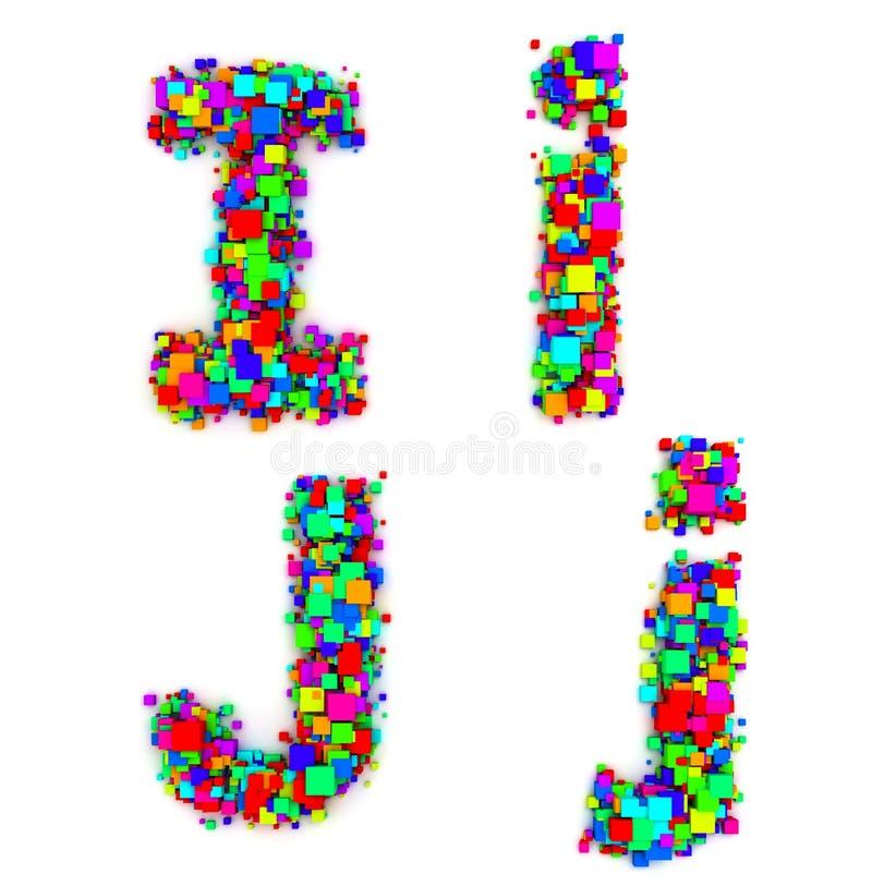 Cartas hechas de rectángulos coloridos stock de ilustración