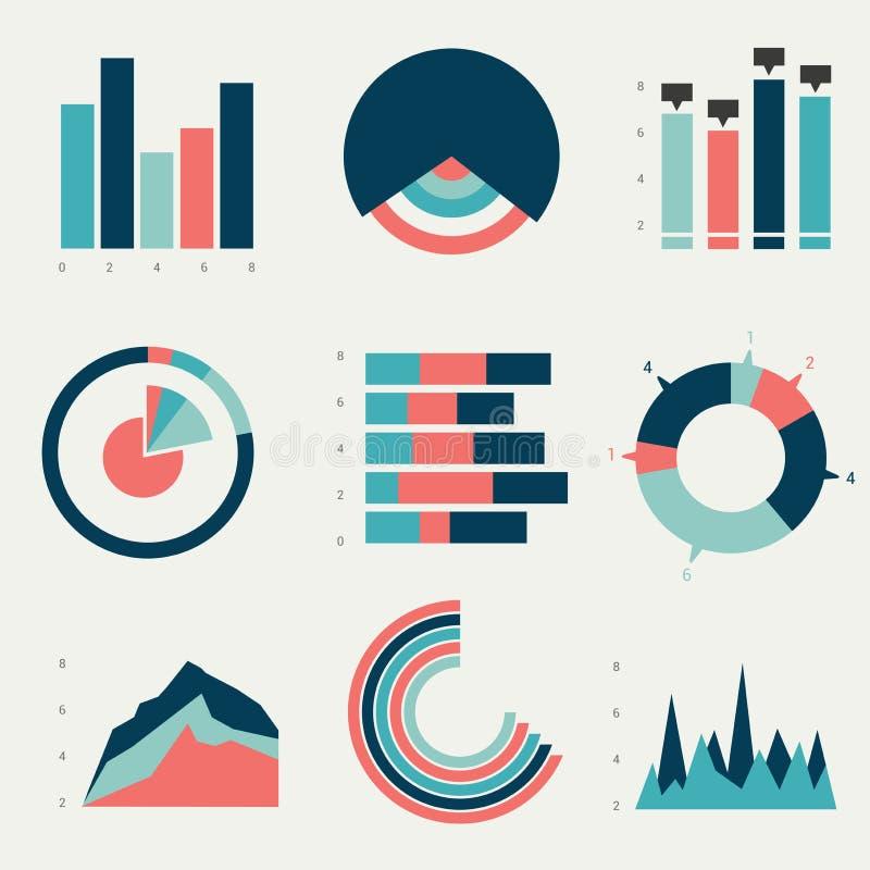 Cartas planas, gráficos ilustración del vector