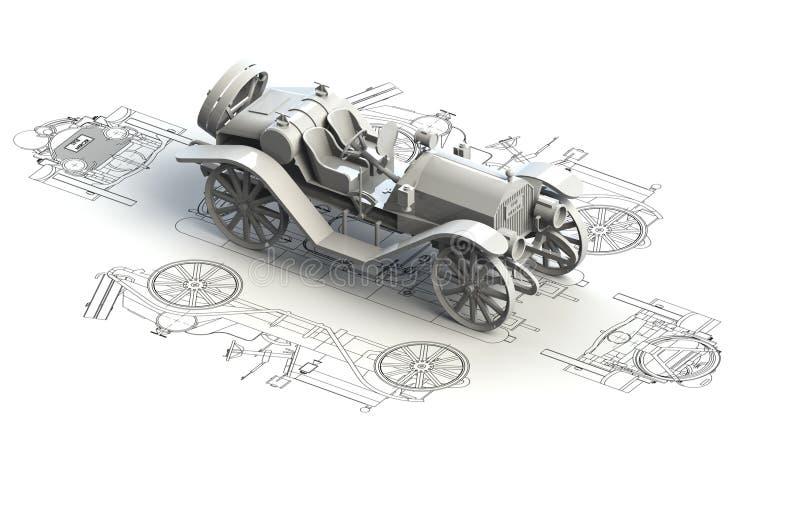 Cartas retras del coche con el modelo 3d ilustración del vector