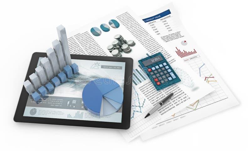 Cartas, tabuleta e documentos financeiros ilustração royalty free