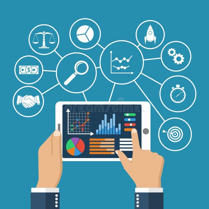 Cartas y diagramas estadísticos del datawith en tableta stock de ilustración