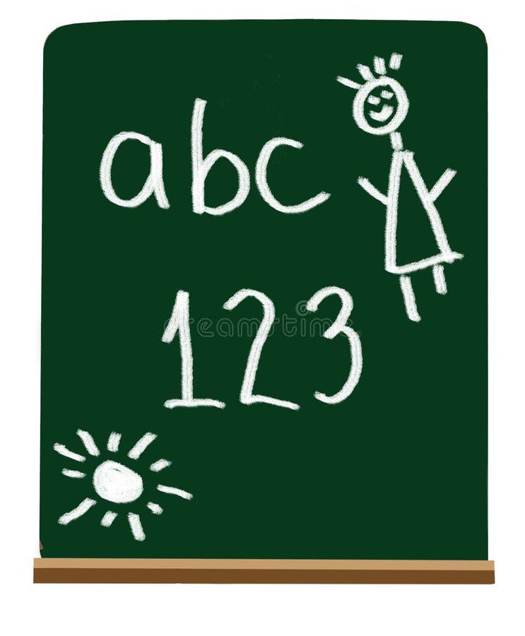 Cartas y números de la escuela primaria stock de ilustración