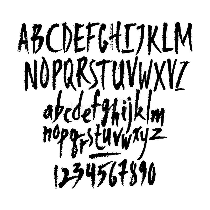 Cartas y números latinos escritos por vectores stock de ilustración