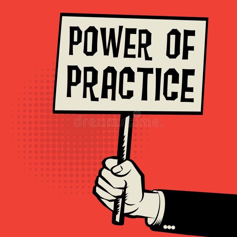 Cartaz à disposição, conceito do negócio com poder do texto da prática ilustração do vetor