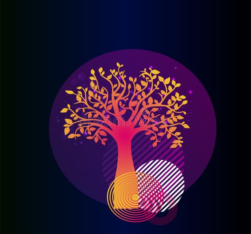 Cartaz à moda - a árvore de vida com geometria e brilho Cópia de néon do vetor ilustração do vetor