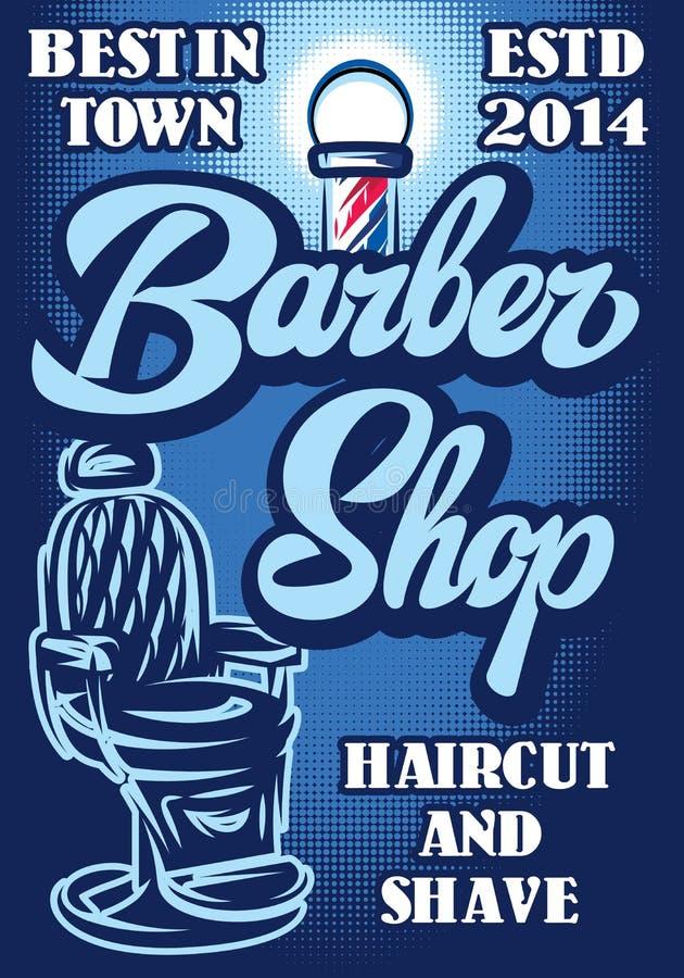 Cartaz à moda para anunciar o barbeiro com inscrição caligráfica ilustração stock