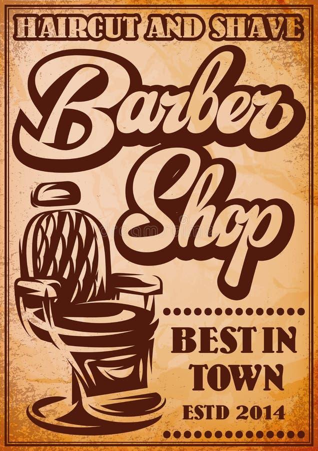 Cartaz à moda para anunciar o barbeiro com inscrição caligráfica ilustração royalty free