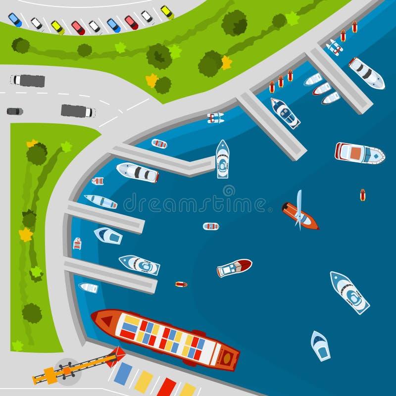 Cartaz aéreo da opinião superior do porto do beira-mar ilustração stock