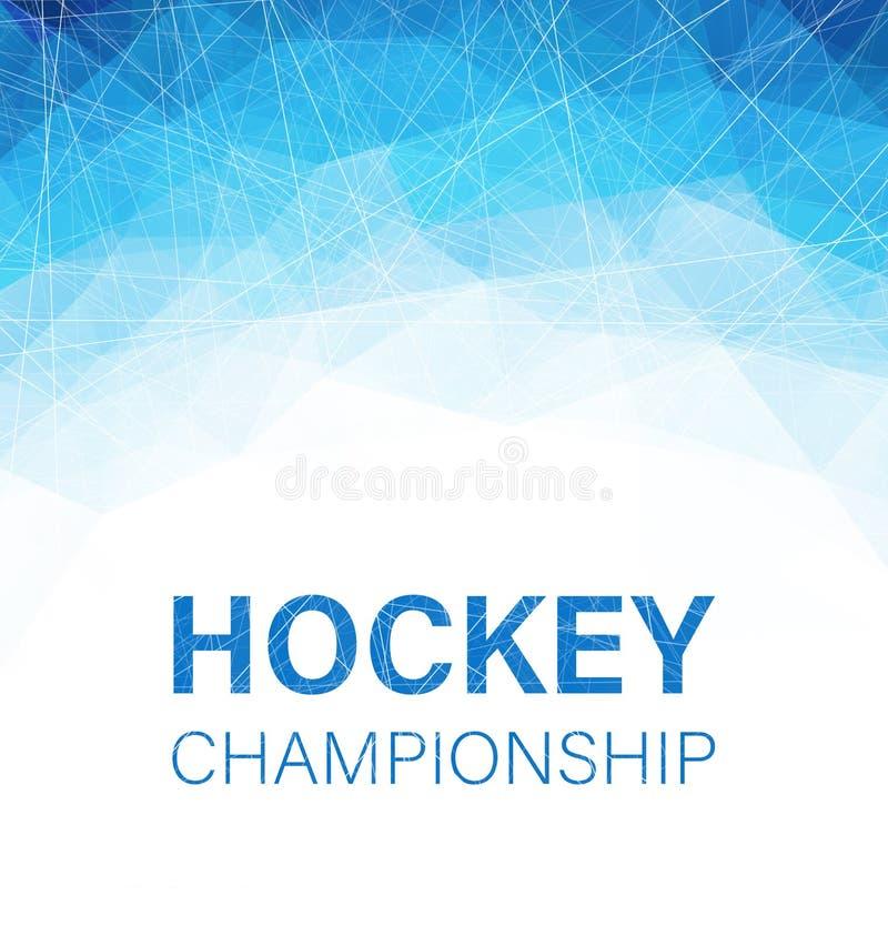 Cartaz abstrato azul do campeonato do hóquei com teste padrão geométrico ilustração stock