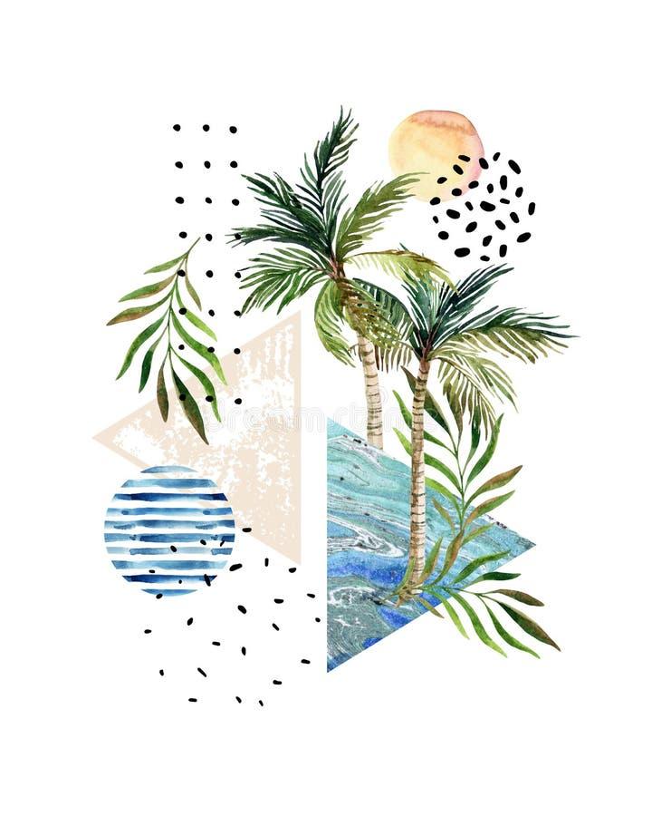 Cartaz abstrato: palmeiras da aquarela, folhas, triângulos marmoreando ilustração do vetor