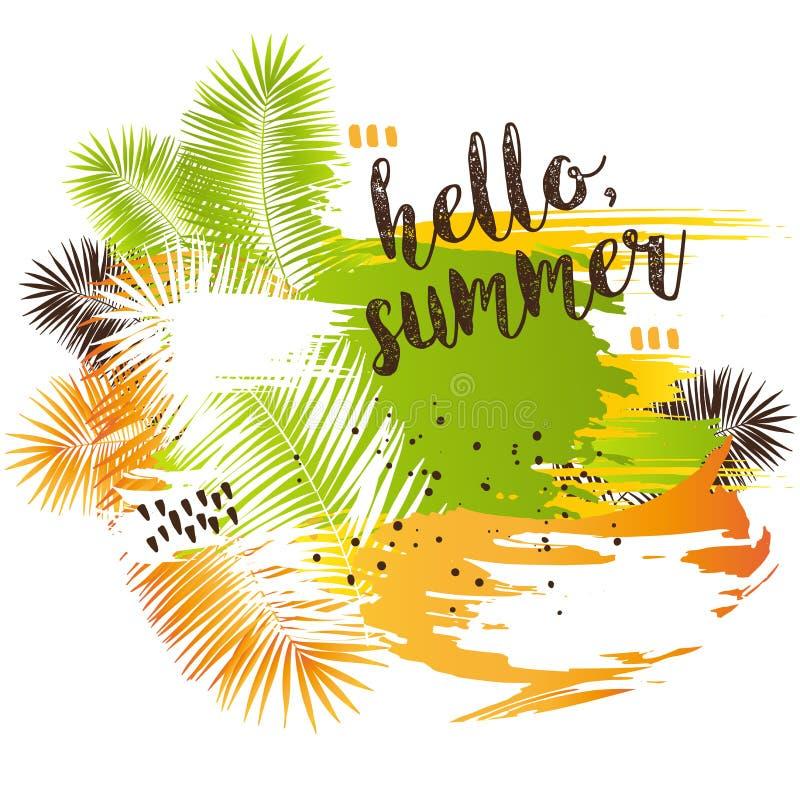 Cartaz abstrato tropical do verão com folhas de palmeira ilustração do vetor