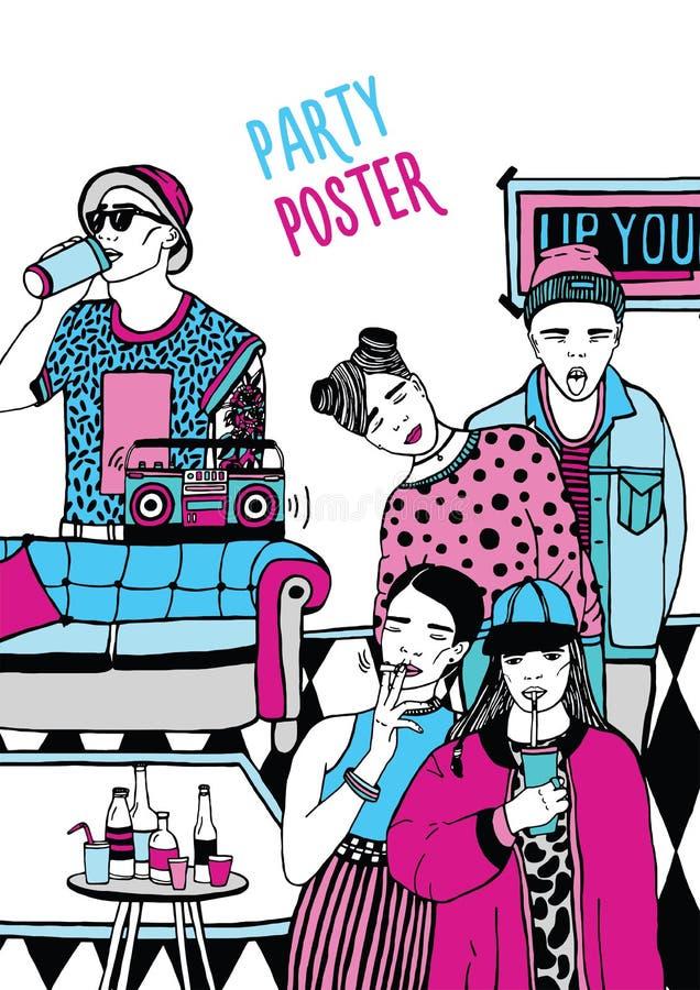 Cartaz alternativo do partido Cartaz com dança, jovem bebendo, música ilustração colorida tirada mão ilustração do vetor