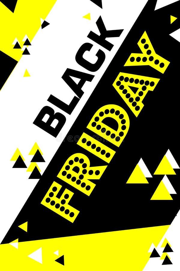 Cartaz amarelo sexta-feira preta de compra inseto moderno na moda do dia do desconto folheto para anunciar ilustração stock