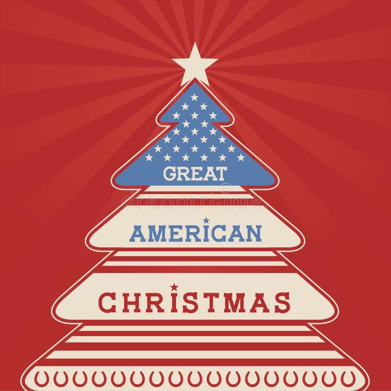 Cartaz americano da árvore de Natal ilustração royalty free