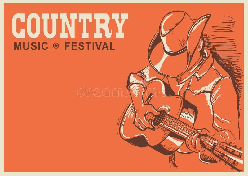 Cartaz americano do festival de música country com o músico que joga o GUI ilustração do vetor
