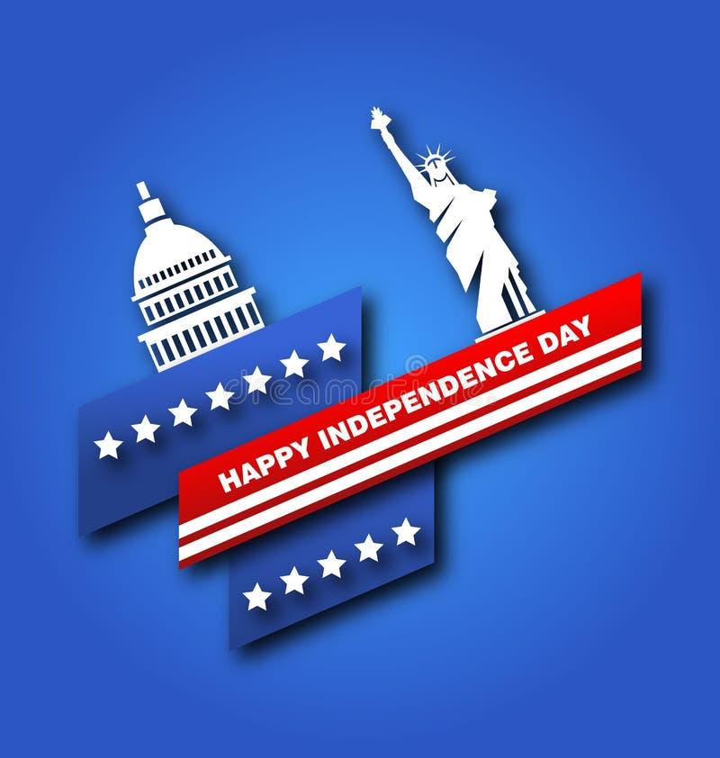 Cartaz americano para o quarto do Dia da Independência dos EUA, Capitólio de julho, estátua da liberdade ilustração stock