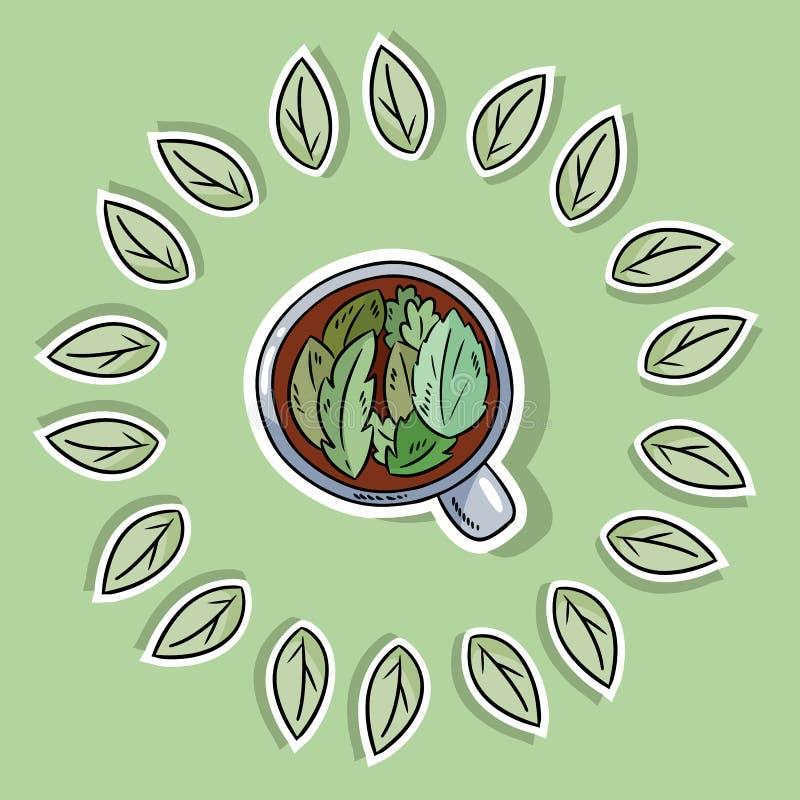Cartaz amig?vel dos termas de Eco com tisana Vai a vida verde ilustração royalty free