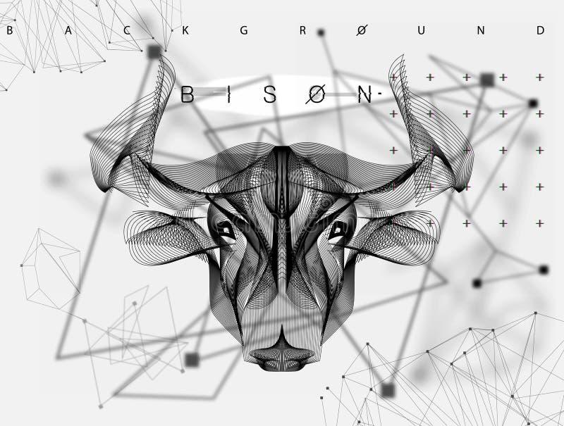 Cartaz animal Bull do sumário do vetor ilustração stock