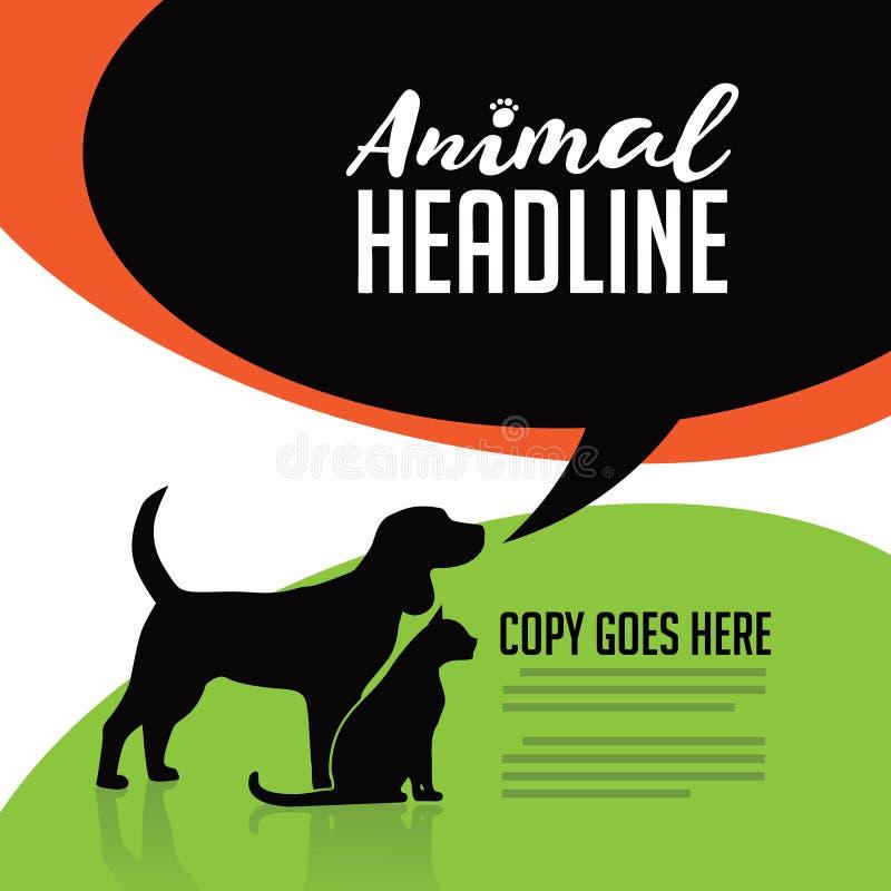 Cartaz animal do cão e gato ilustração royalty free