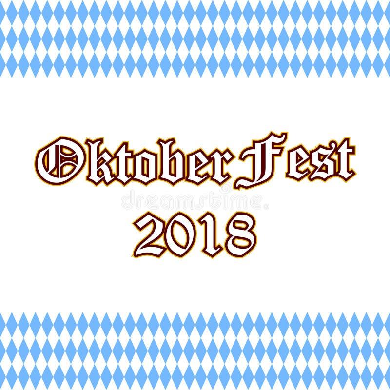 Cartaz ao festival o mais oktoberfest Rotulação escrita à mão de Oktoberfest 2018 para o cartão ilustração do vetor