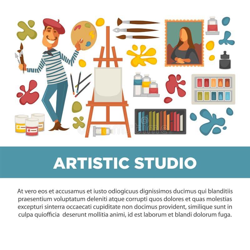 Cartaz artístico do estúdio com todas as ferramentas a pintar e tirar ilustração stock