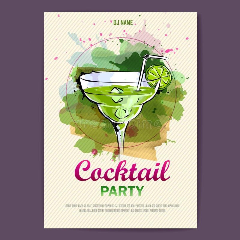 Cartaz artístico tirado mão do disco do cocktail ilustração stock
