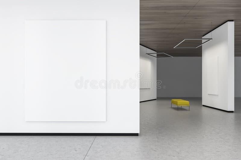 Cartaz ascendente trocista na parede branca da galeria ilustração stock