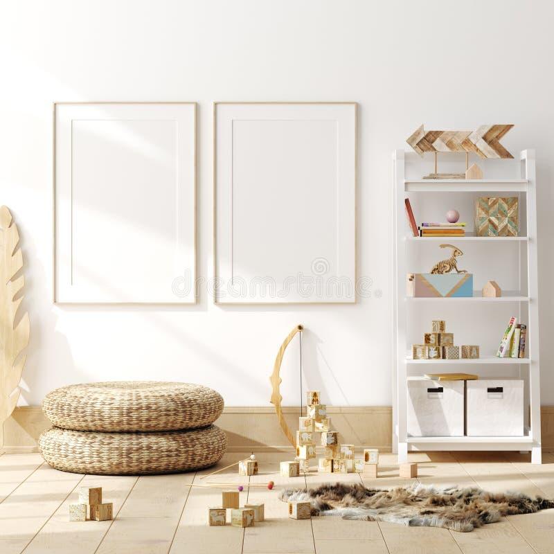 Cartaz ascendente trocista, parede no fundo interior do quarto das crian?as, estilo escandinavo fotos de stock royalty free