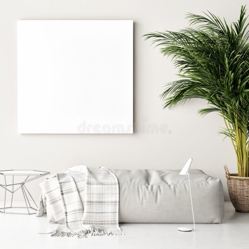 Cartaz ascendente trocista, sofá, palmeira, fundo do moderno ilustração royalty free