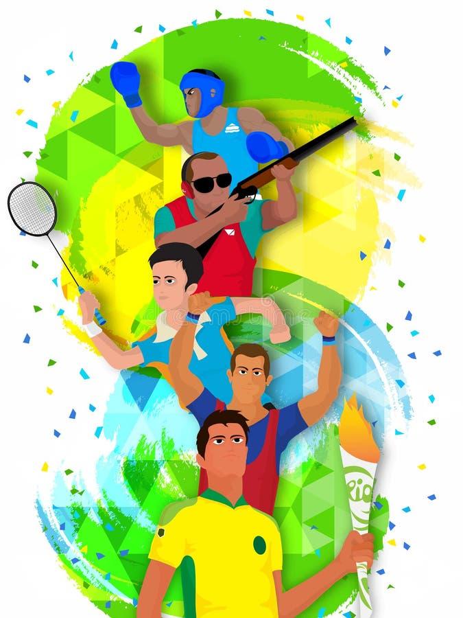 Cartaz, bandeira com os jogadores diferentes dos esportes ilustração stock