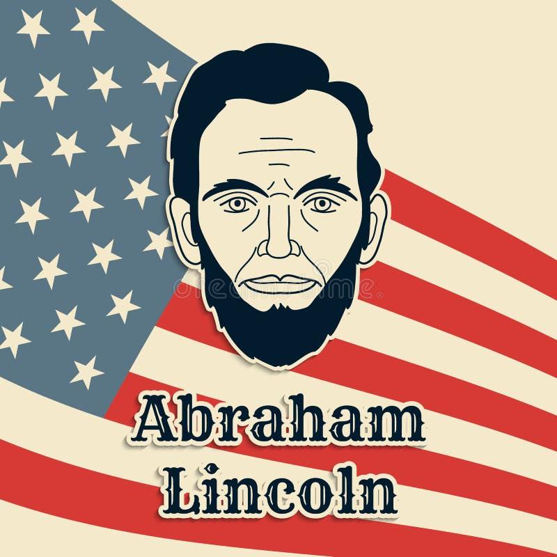 Cartaz, bandeira ou cartão do vetor do presidente Abraham Lincoln Retrato preto e branco do papel do corte no fundo da bandeira d ilustração stock