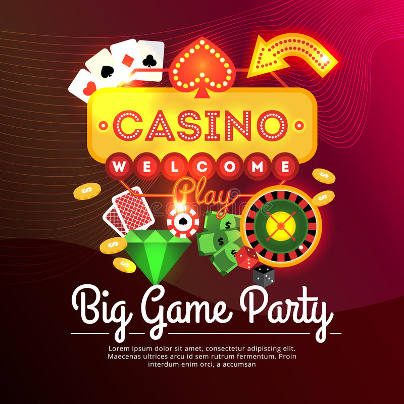 Cartaz bem-vindo do casino ilustração royalty free