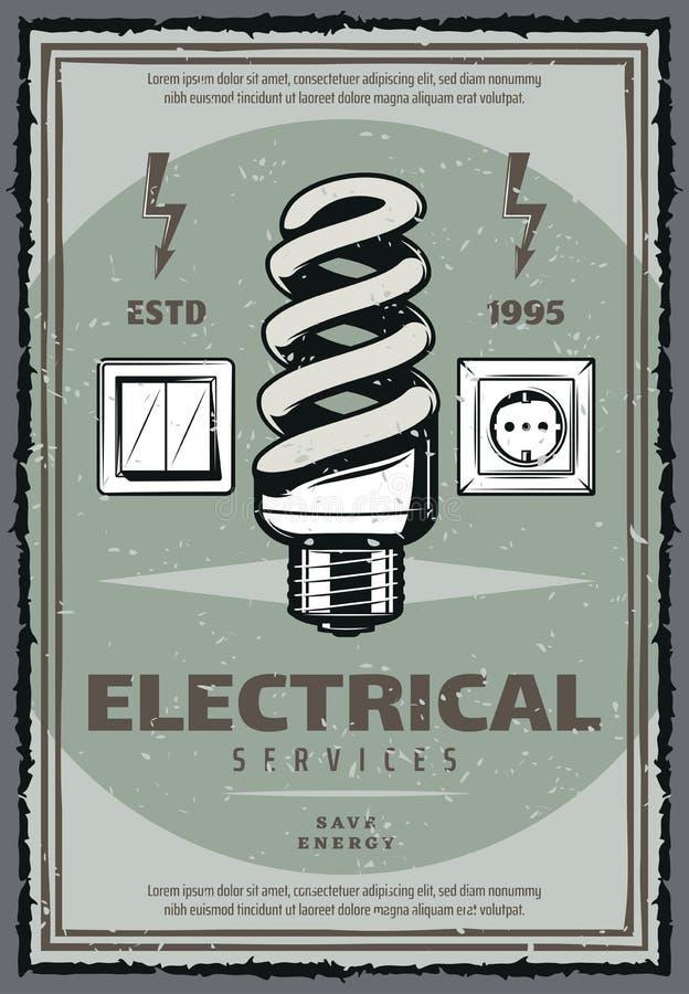Cartaz bonde do vintage do serviço com ampola ilustração do vetor