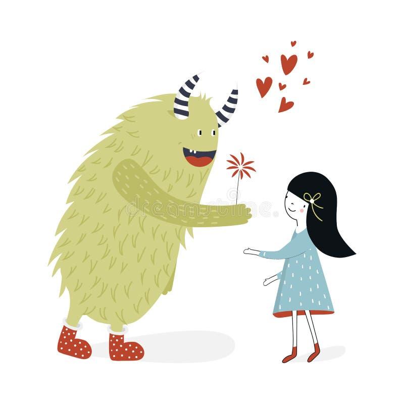 Cartaz bonito do berçário com menina e monstro Ilustração do vetor no estilo escandinavo ilustração royalty free