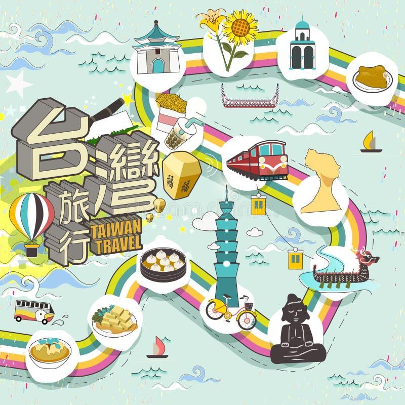 Cartaz bonito do curso de Taiwan ilustração stock