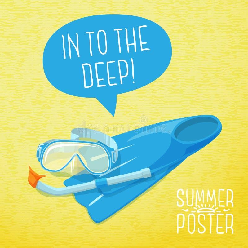 Cartaz bonito do verão - máscara do mergulho, aletas e ilustração stock