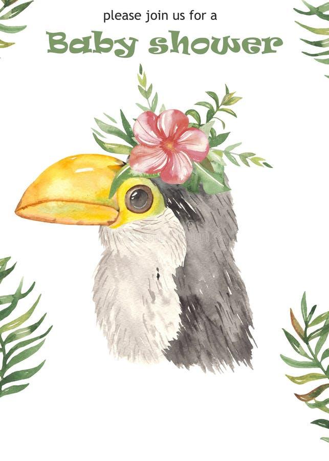 Cartaz bonito dos desenhos animados da aquarela para crianças jaguar, tucano, cervo com flores tropicais ilustração do vetor