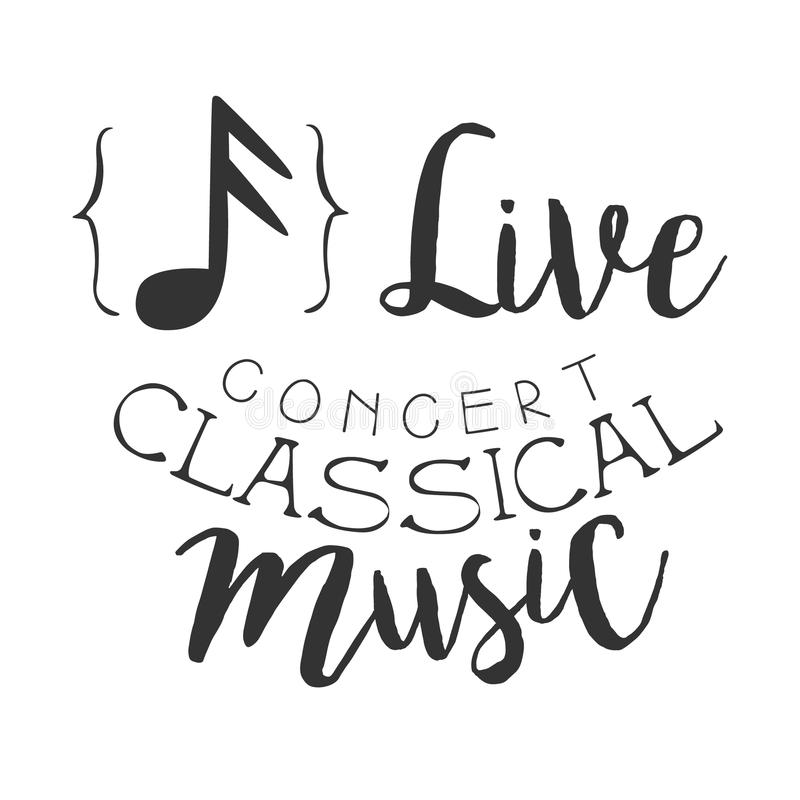 Cartaz branco clássico de Live Music Concert Black And com sinal caligráfico do texto e da nota ilustração stock