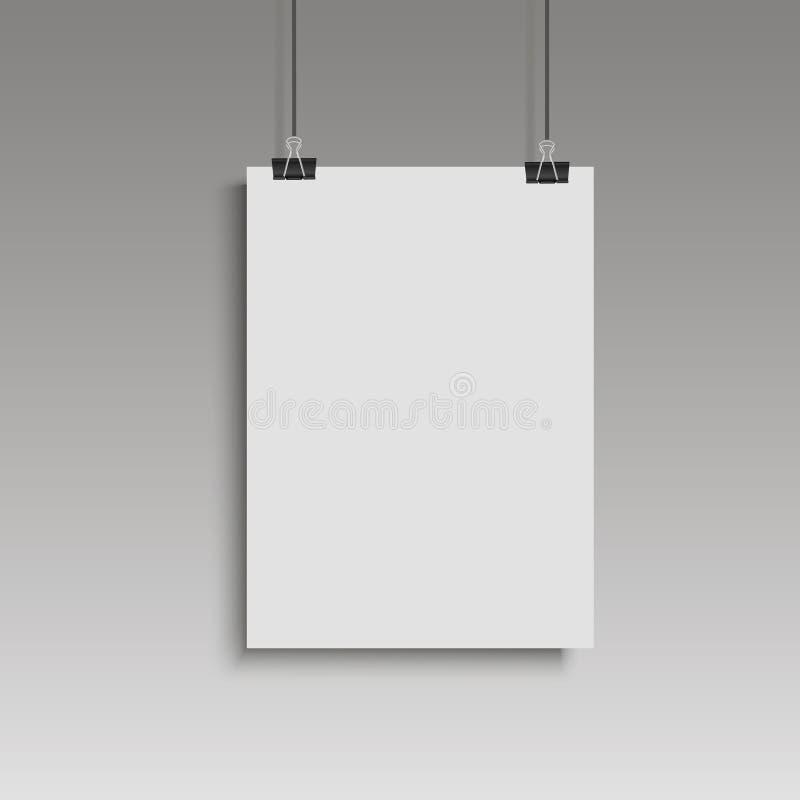 Cartaz branco da imagem que pendura na pasta Parede cinzenta com zombaria acima da placa de papel vazia Vetor ilustração royalty free
