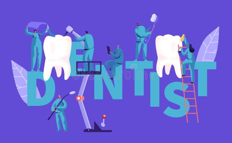 Cartaz branco da tipografia do dente de Character Clean Big do dentista Fundo dental da clínica Povos profissionais Team Work ilustração stock