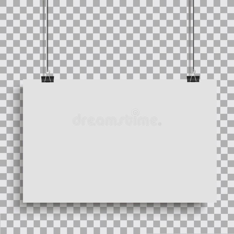Cartaz branco que pendura na pasta Fundo transparente com zombaria acima da placa de papel vazia Vetor ilustração royalty free