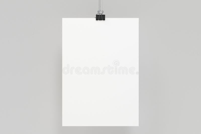Cartaz branco vazio com o modelo do grampo da pasta no fundo branco ilustração royalty free