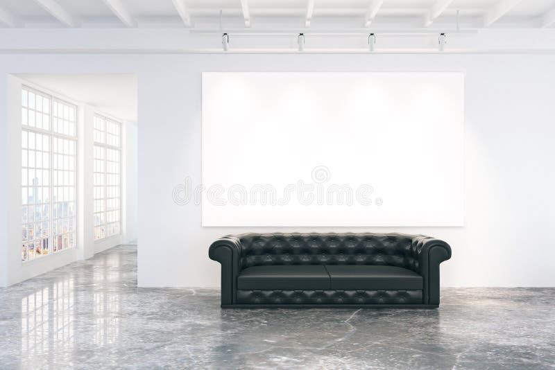Cartaz branco vazio na parede branca com o sofá de couro preto em concentrado ilustração do vetor