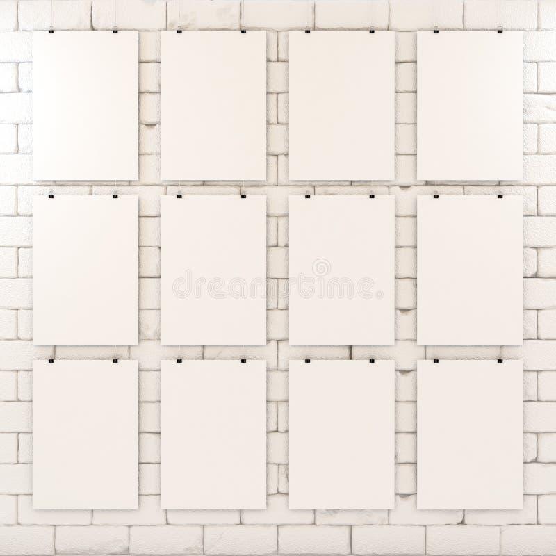 Cartaz branco vazio na parede de tijolo imagens de stock