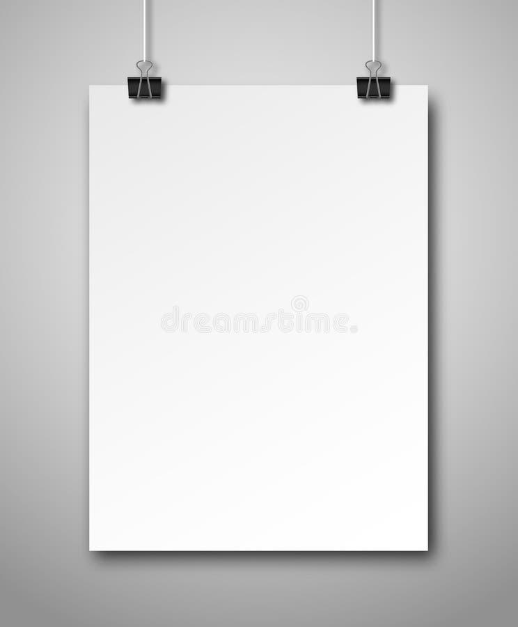 Cartaz branco vazio que pendura em clipes de papel ilustração royalty free